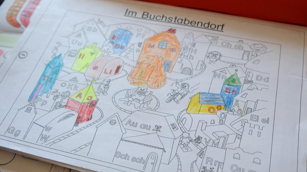 Buchstabendorf, von dem er nur Häuser ausgemalt hat, als er mit allen in der Schule war